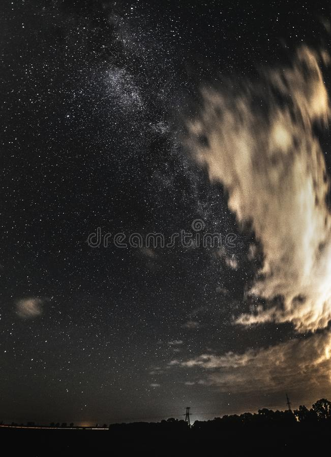 Real night sky with stars as the human eye sees royalty free stock photo