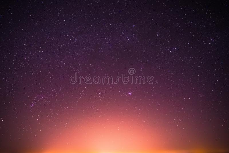 Real Night Sky Stars Background With Natural Colourful Gradient. Sunset, Sunrise Light And Starry Sky royalty free stock photos