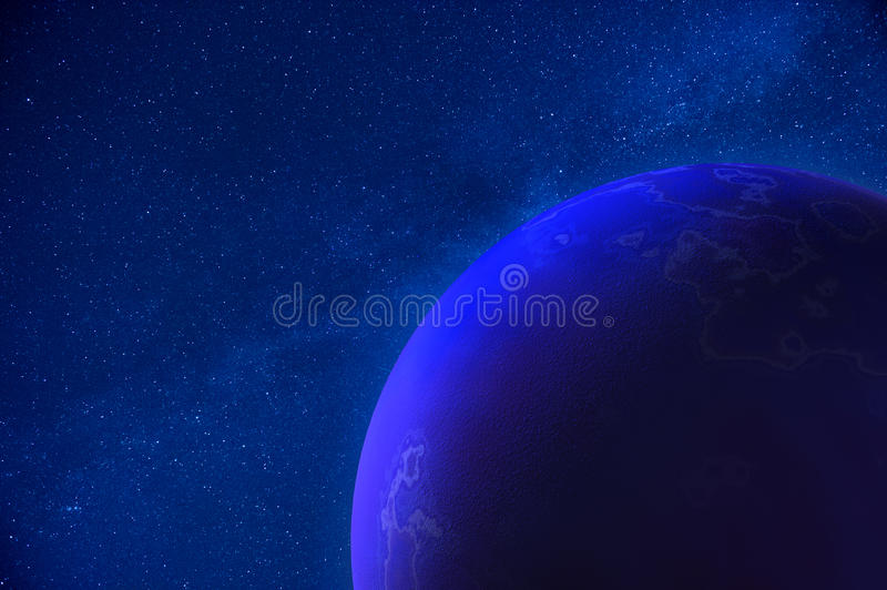Real Night Sky with Stars and 3D Planet stock illustration