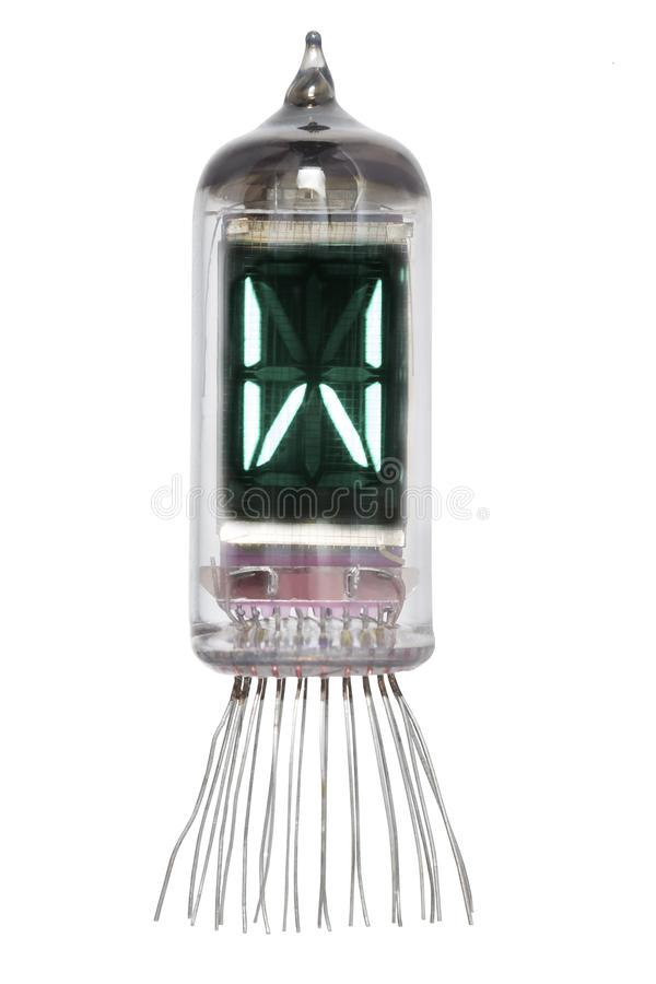 The real Nixie tube indicator of the alphabet of retro style, isolated on white background. Display with green backlight. Letter W.  royalty free stock photo