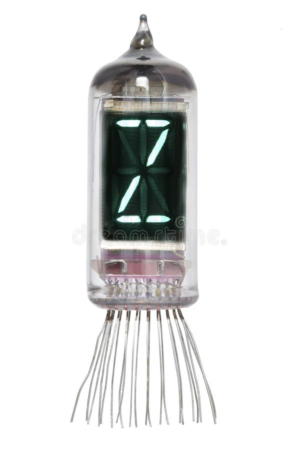 The real Nixie tube indicator of the alphabet of retro style, isolated on white background. Display with green backlight. Letter Z.  royalty free stock image