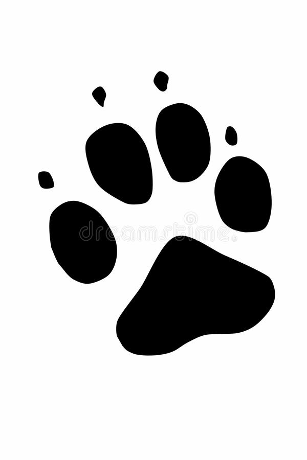 Real paw of caucasian shepherd. Black icon for another use vector illustration