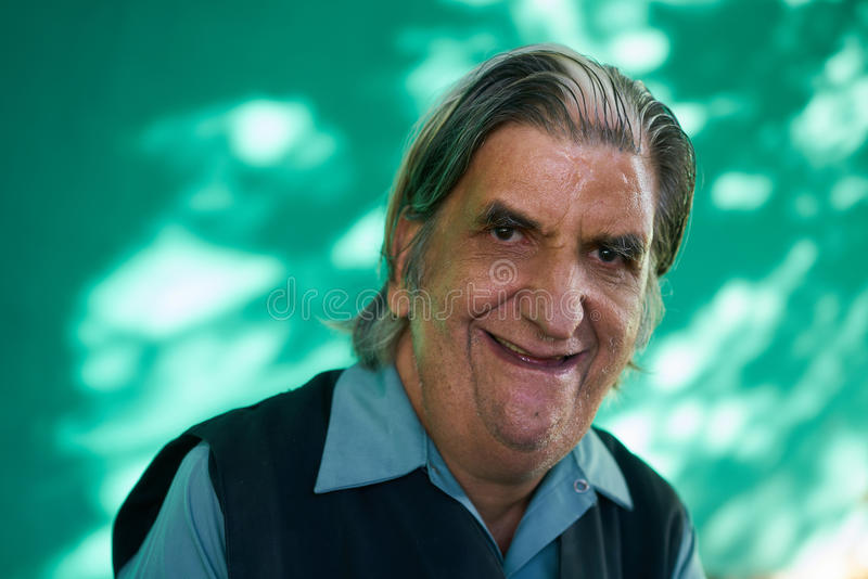 Real People Portrait Funny Senior Man Laughing At Camera stock images