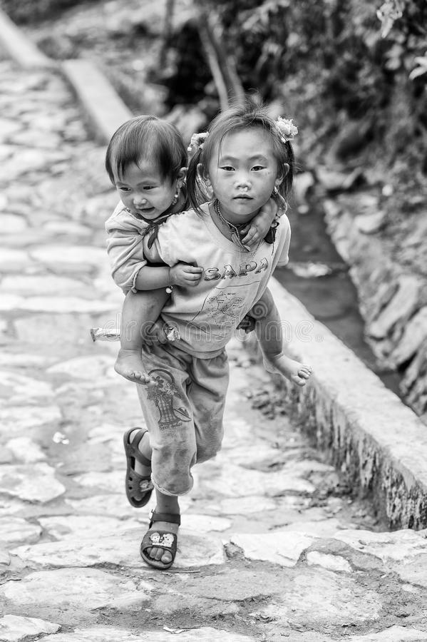 Real People In Vietnam, In Black And White Editorial