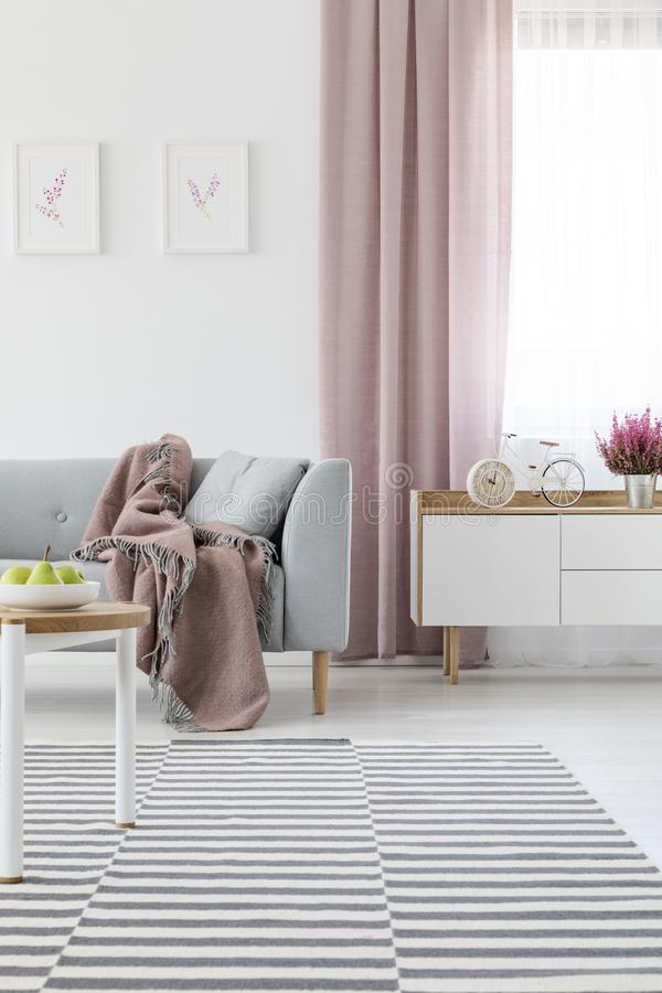 Bright living room interior with carpet, grey couch with coverlet, window with dirty pink drape and bike-shaped cloc. Real photo of bright living room interior stock image