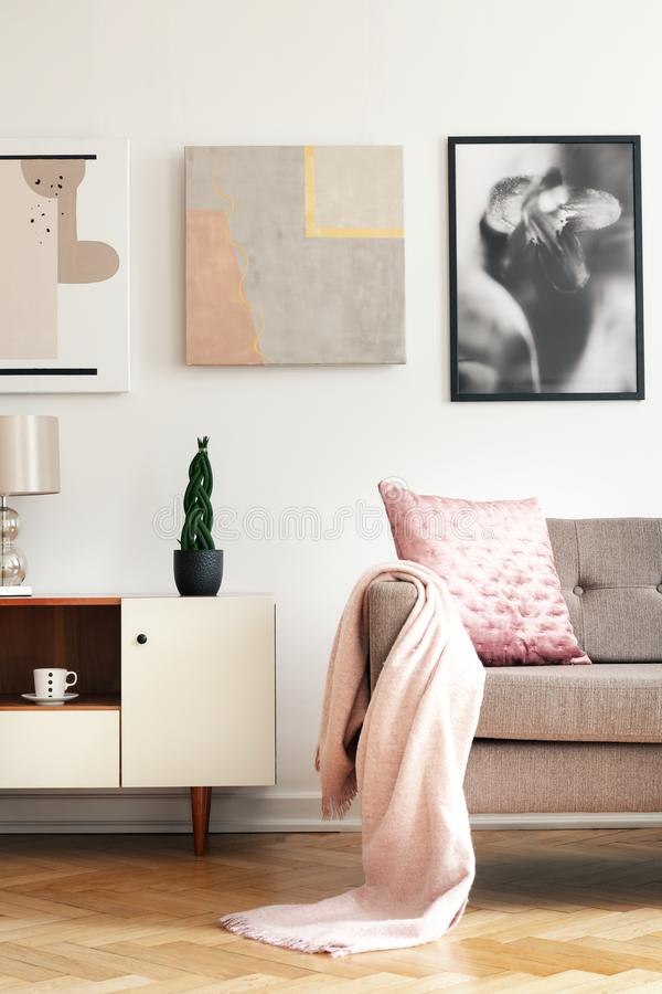 Bright sitting room interior with cupboard with fresh plant, herringbone parquet and couch with pastel pink blanket. Real photo of bright sitting room interior royalty free stock images