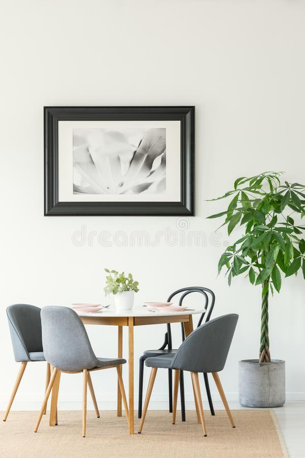 Real photo of a dining room interior with a table, chairs, tree and painting in a black frame royalty free stock image