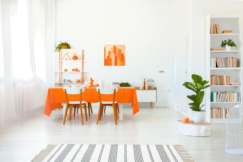 Dining room in vivid color. Orange tablecloth on table with white chairs. Real photo of dining room in vivid color. Orange tablecloth on long table with white royalty free stock images