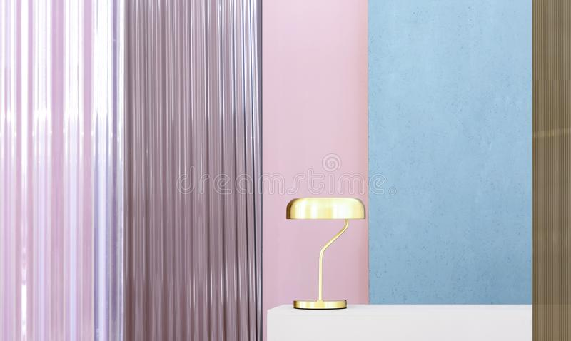 Real photo of a gold lamp on a white pedestal in colorful interior with blue and pink walls. Concept royalty free stock images