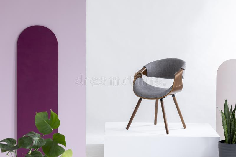 Real photo of a gray, fleece and leather chair. Standing on a podium in a living room interior with plants royalty free stock photo