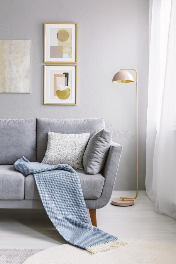 Real photo of a grey couch with pillows and blanket standing next to a gold lamp and a wall with paintings in living room interior royalty free stock photo
