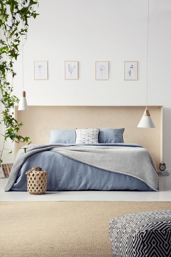 Real photo of king-size bed with pastel blue bedclothes and box. Headboard standing in white bedroom interior with carpet, two lamps and four posters royalty free stock photos