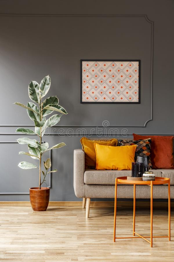Real photo of poster with geometric pattern hanging on the wall. With wainscoting in dark living room interior with fresh plant, sofa with cushions and metal royalty free stock photo