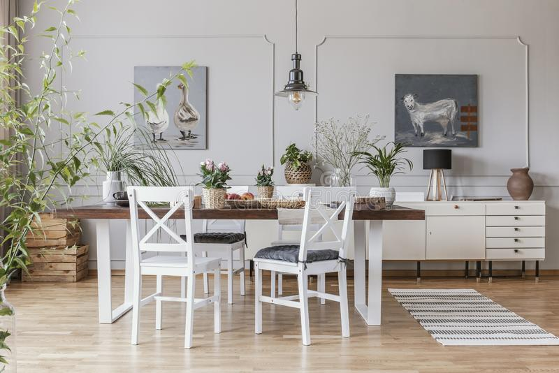 Real photo of a rustical dining room interior with a wooden table, chairs and plants. Concept royalty free stock photo