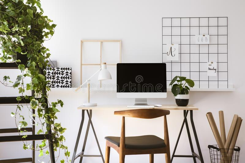 Real photo of wooden desk with metal lamp, fresh plant and empty screen monitor standing in white flat interior. Concept stock image