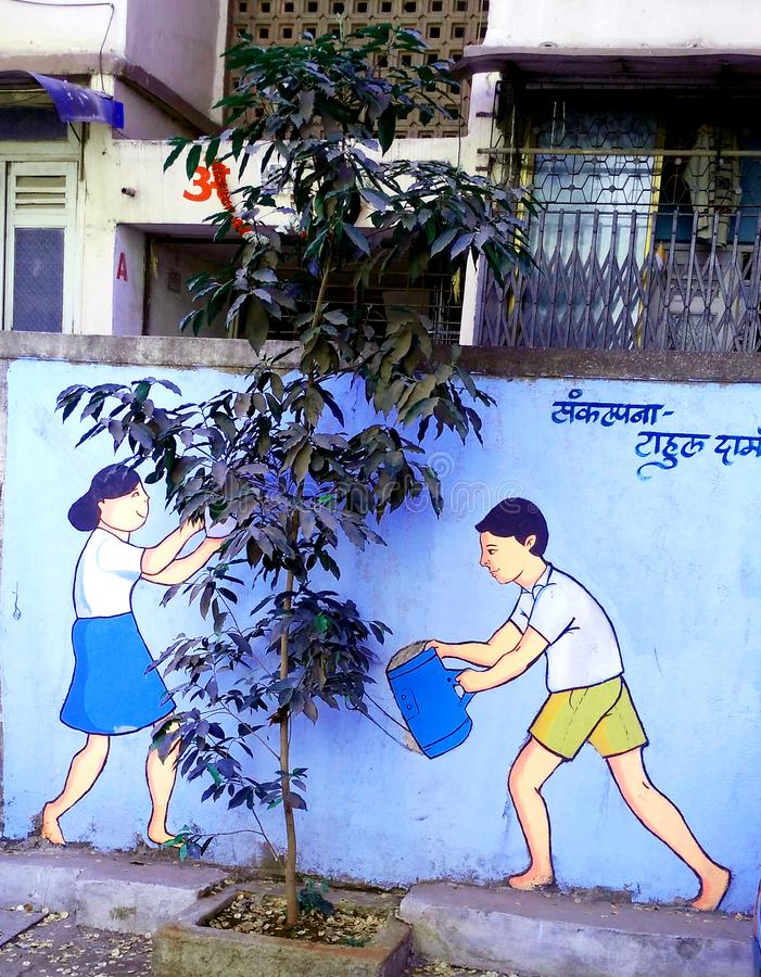 Real plant and smart painting to save environment slogan. Eco friendly, Environment is important than economy. Save the earth, go green, Pollution is primitive royalty free stock photo