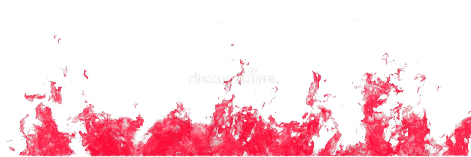 Real red line of fire flames isolated on white background. Mockup on white of wall of fire royalty free stock photos