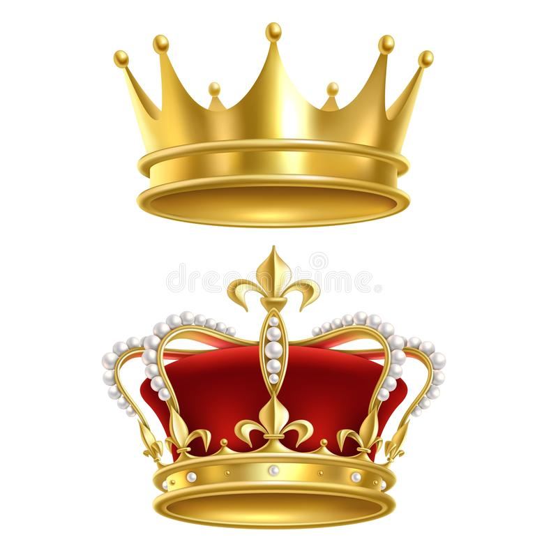 Free Real Royal Crown. Imperial Gold Luxury Monarchy Medieval Crowns For Heraldic Sign Isolated Realistic Vector Set On White Stock Photos - 159803003