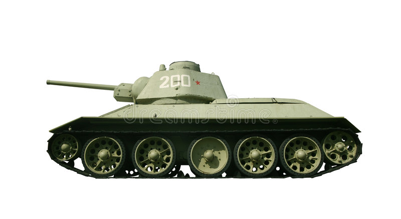 Real Russian tank from WW2 with path stock photo