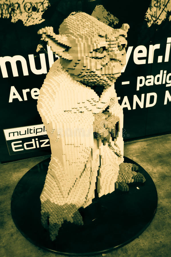Real size Yoda in Lego at Lucca comics and games 2014 royalty free stock photo