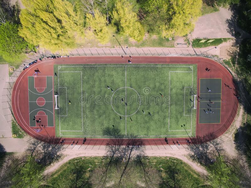 Real soccer field - Top down aerial view royalty free stock photo