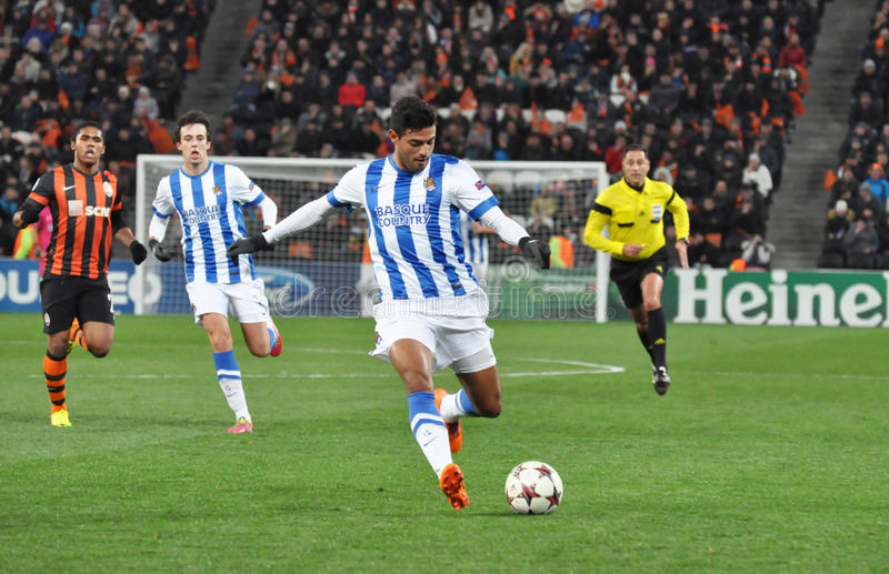 Real Sociedad football player on the attack royalty free stock photos