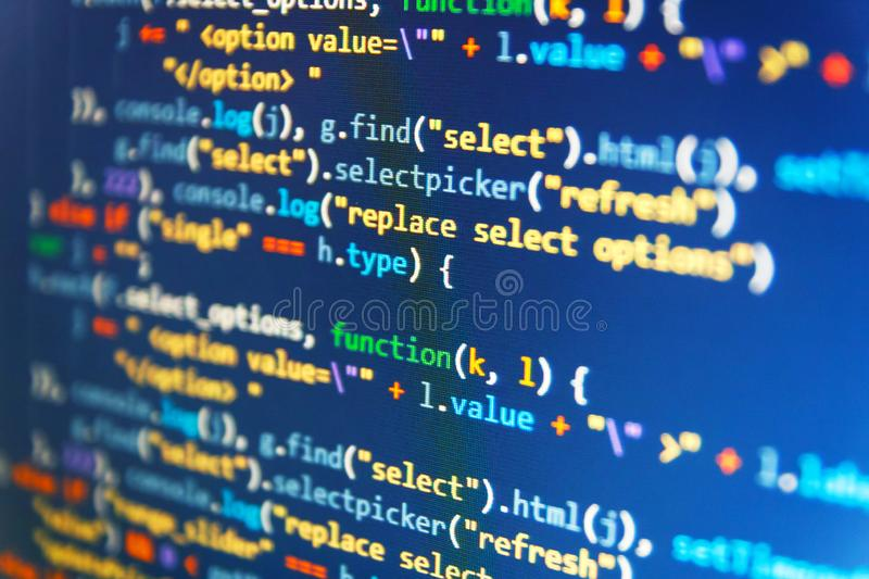 Real software development code. Running Computer data / WWW programming. IT business. Css3 code on a colorful background. Data royalty free stock photography