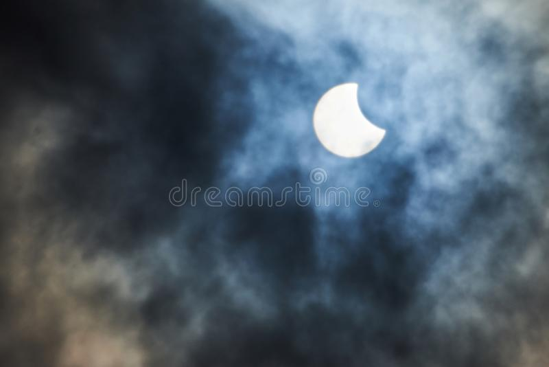 Real solar partial eclipse royalty free stock photography