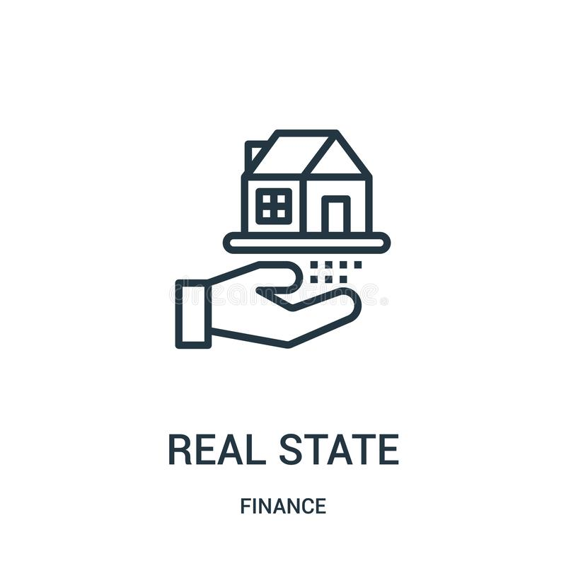 real state icon vector from finance collection. Thin line real state outline icon vector illustration. Linear symbol for use on royalty free illustration