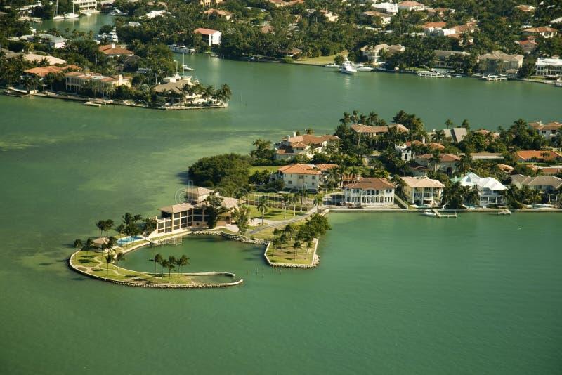 Aerial view over Miami royalty free stock photos