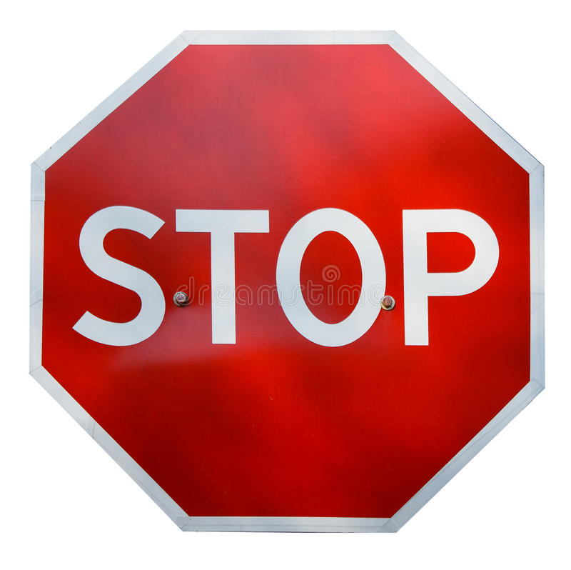 Real STOP sign. Red realistic stop road sign isolated on white royalty free stock photography
