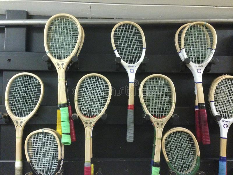 Real Tennis Rackets. Though tennis is traditionally styled the Game of Kings early records show that it was the ecclesiastical high-ups who first put their stamp royalty free stock photography
