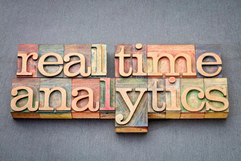 Real time analytics in wood type royalty free stock image