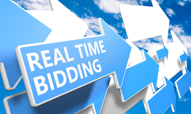 Real Time Bidding. 3d render concept with blue and white arrows flying in a blue sky with clouds stock photography