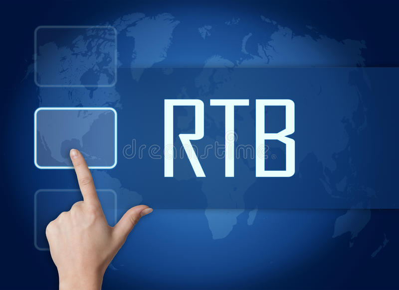 Real Time Bidding. RTB - Real Time Bidding concept with interface and world map on blue background stock photos