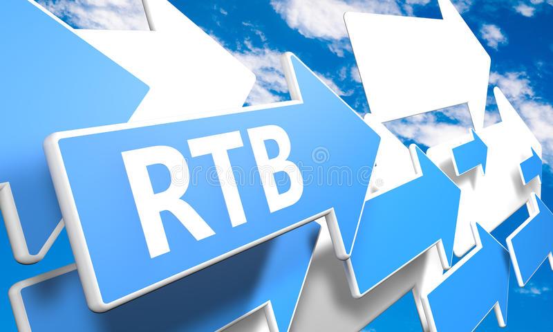 Real Time Bidding. RTB - Real Time Bidding 3d render concept with blue and white arrows flying in a blue sky with clouds stock photo