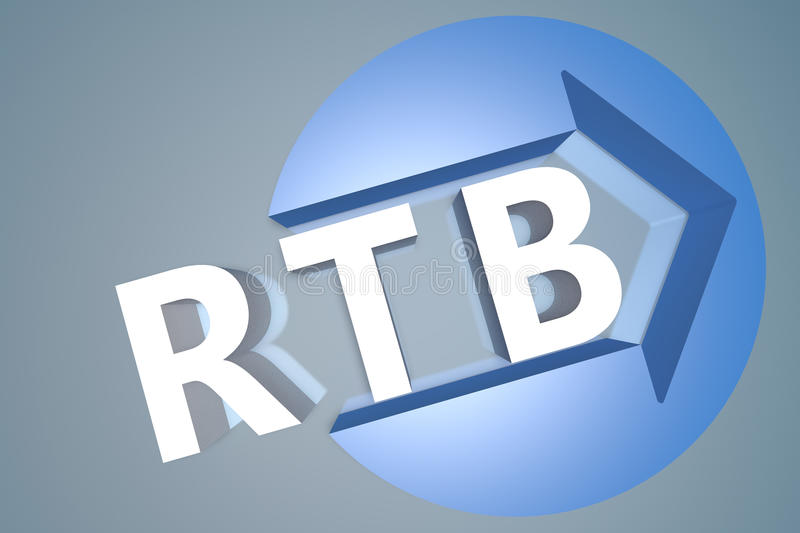 Real Time Bidding. RTB - Real Time Bidding - 3d text render illustration concept with a arrow in a circle on blue-grey background royalty free stock photo