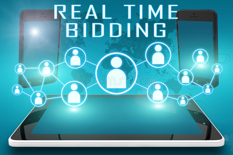 Real Time Bidding. Text illustration with social icons and tablet computer and mobile cellphones on cyan digital world map background stock photography