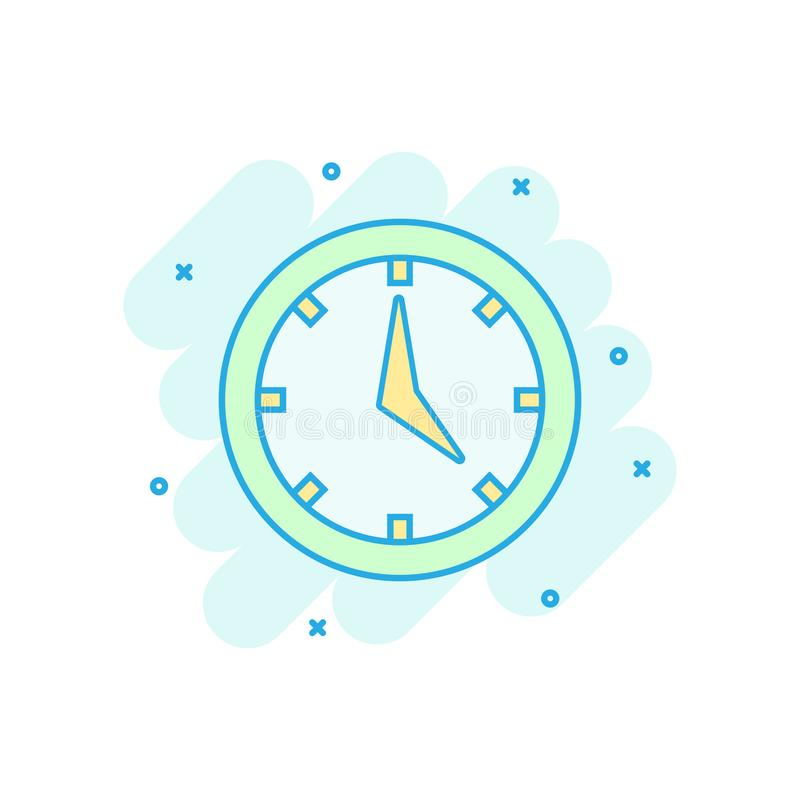 Real time icon in comic style. Clock vector cartoon illustration on white isolated background. Watch business concept splash. Effect vector illustration