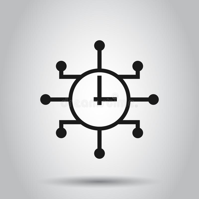 Real time icon in flat style. Clock vector illustration on isolated background. Watch business concept.  vector illustration