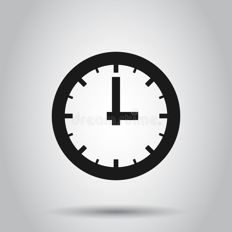 Real time icon in flat style. Clock vector illustration on isolated background. Watch business concept.  stock illustration
