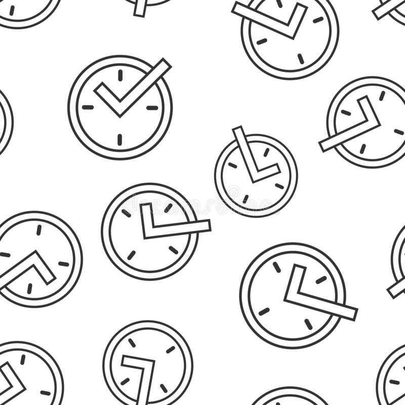 Real time icon seamless pattern background. Clock vector illustration on white isolated background. Watch business concept.  vector illustration