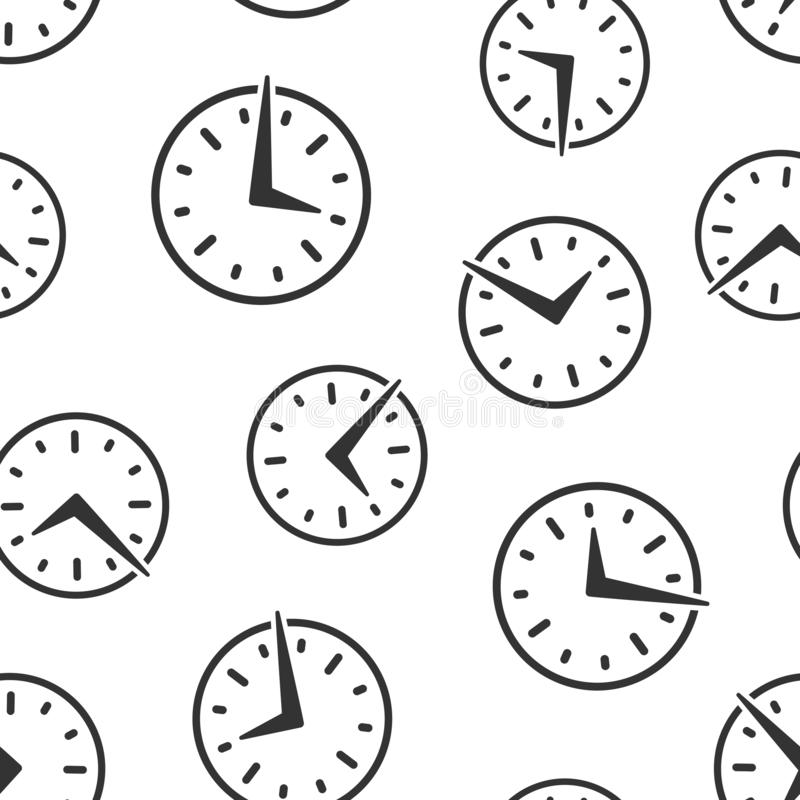 Real time icon seamless pattern background. Clock vector illustration on white isolated background. Watch business concept.  stock illustration