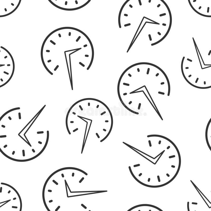 Real time icon seamless pattern background. Clock vector illustration on white isolated background. Watch business concept.  royalty free illustration