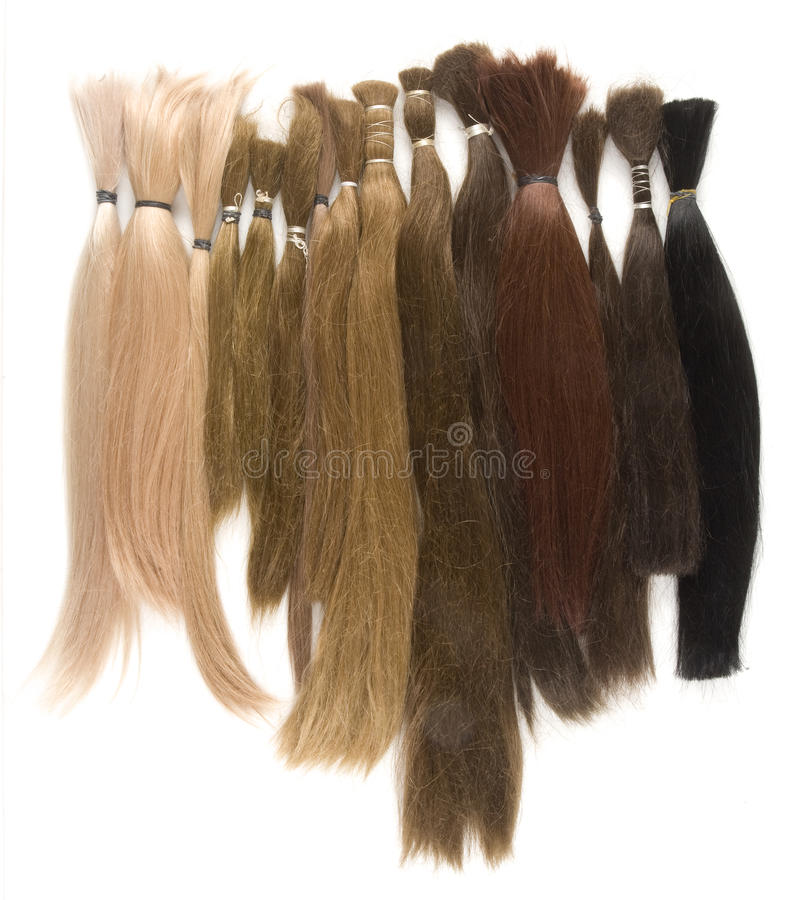 Real Uncolored Human Hair Wig Production. Real Human Hair Used for Production of Wigs royalty free stock photo