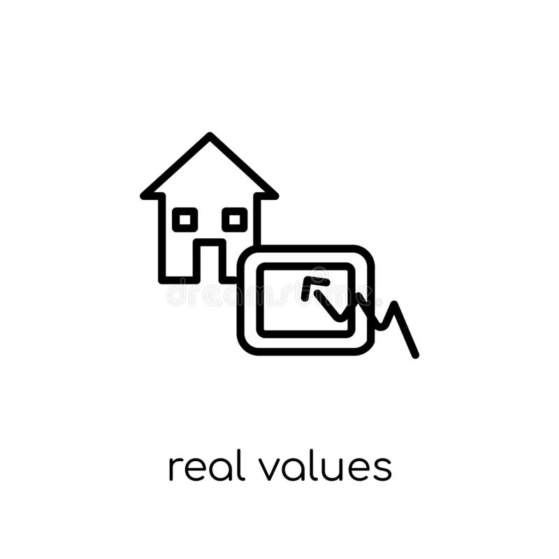Real values icon. Trendy modern flat linear vector Real values i. Con on white background from thin line business collection, editable outline stroke vector vector illustration