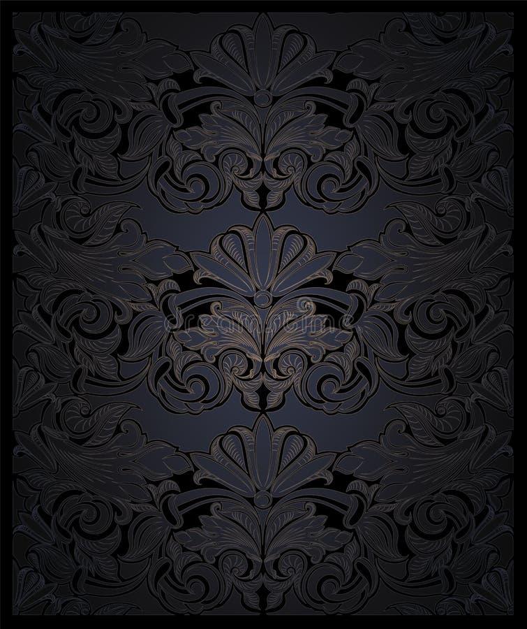 Real, vintage, fondo vertical elegante en negro con oro ilustración del vector