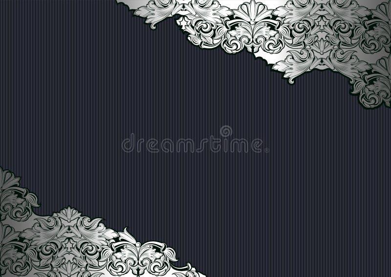 Real, vintage, fundo gótico na prata e preto ilustração royalty free