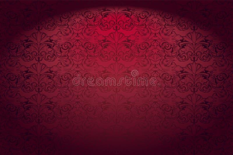 Real, vintage, fundo horizontal gótico no vermelho ilustração do vetor