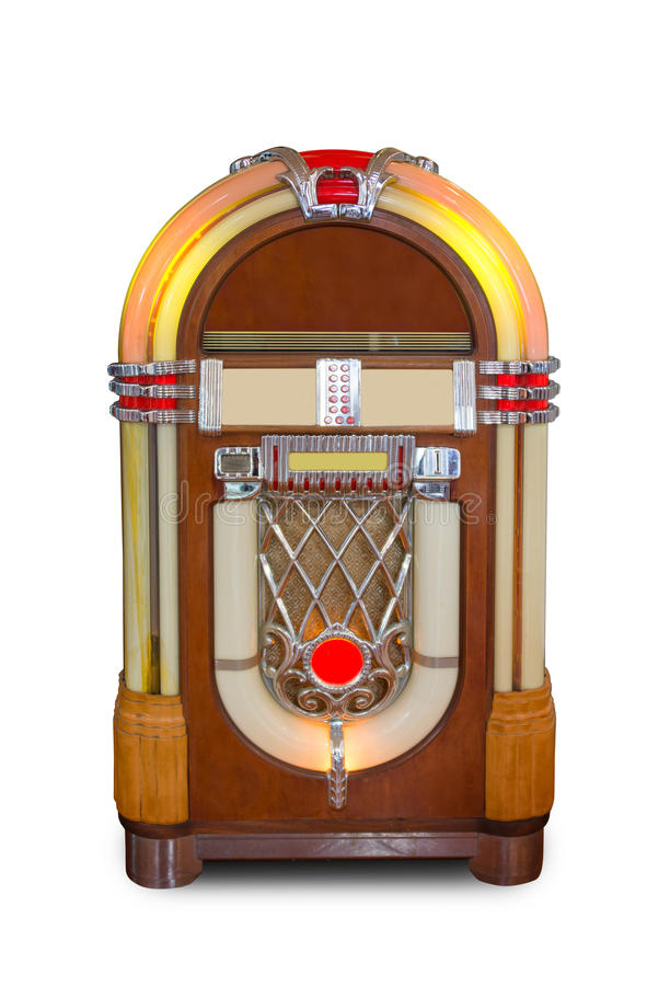 Real vintage jukebox retro music player isolated on white background royalty free stock photos